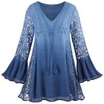 Textures Of Blue Ombre With Lace Tunic