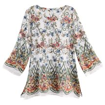 Long Sleeve Embroidery on Net-Scoop Neck Long Fit Tunic