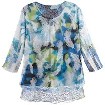 Blue Neon Feathers Top