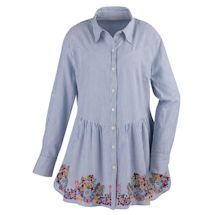 Denim-Friendly Embroidered Pinstripe Tunic