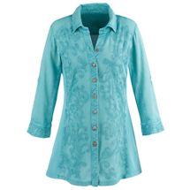 Carolina Blue Appliqué Embroidered Shirt