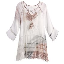 Silky Vintage Embroidered Tunic With Cami