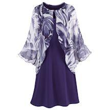 Plum Chiffon Capelet Dress