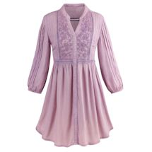 Pleated Floral Embroidery Tunic