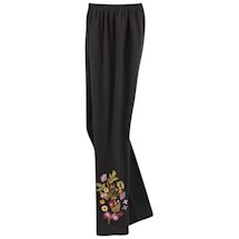 Floral Embroidered Comfort-Fit Leggings
