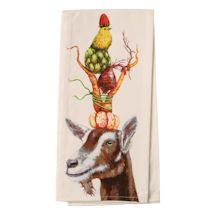 Country Critters In Hats Tea Towels - Goat Or Sheep