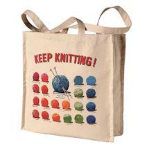 Keep Knitting Cotton Bag