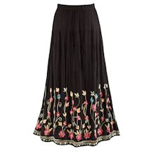 Embroidered Flowering Vines Skirt