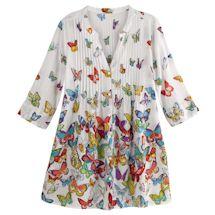 Brilliant Butterflies Pin-Tucked Bodice Tunic