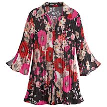 Pink Poseys Accordion Button-Front Tunic