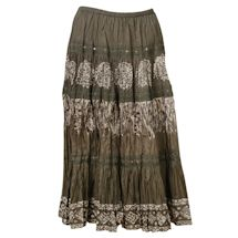 Women's Tiered Peasant Skirt - Olive Green Broomstick Maxi