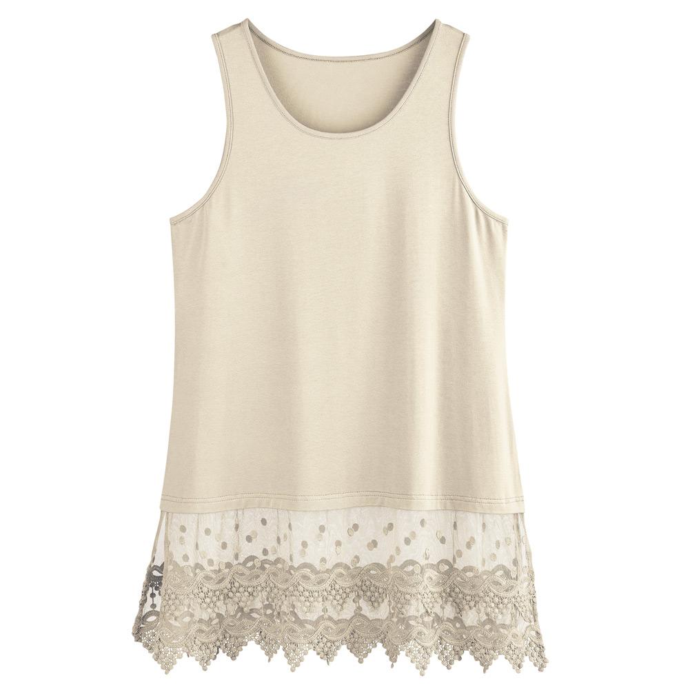 Women-039-s-Lace-Trim-Layering-Tunic-Tank-Top-Extends-Shirt-Blouse-Length-30 thumbnail 13
